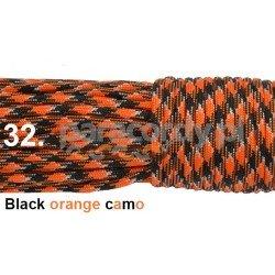 Paracord 550 linka kolor black orange camo