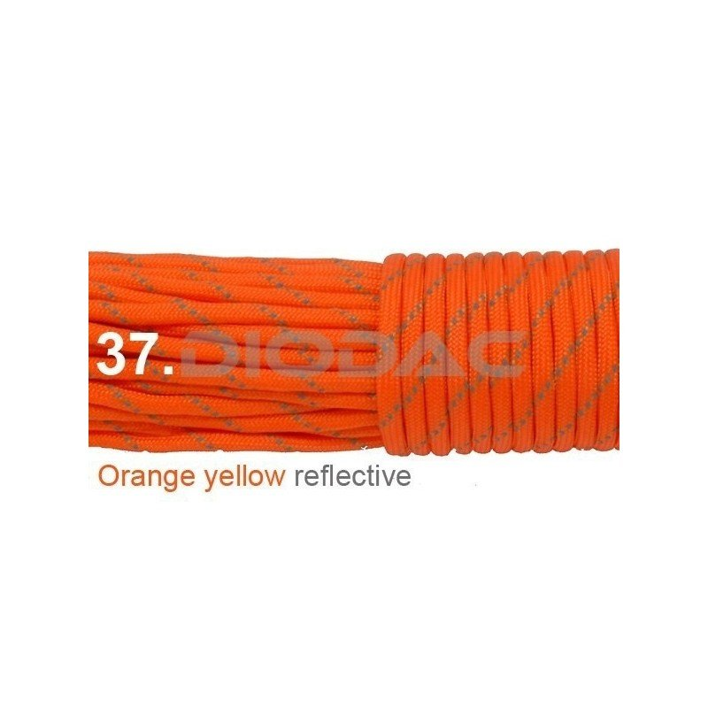 Paracord 550 linka kolor orange yellow reflective