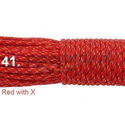 Paracord 550 linka kolor red with x