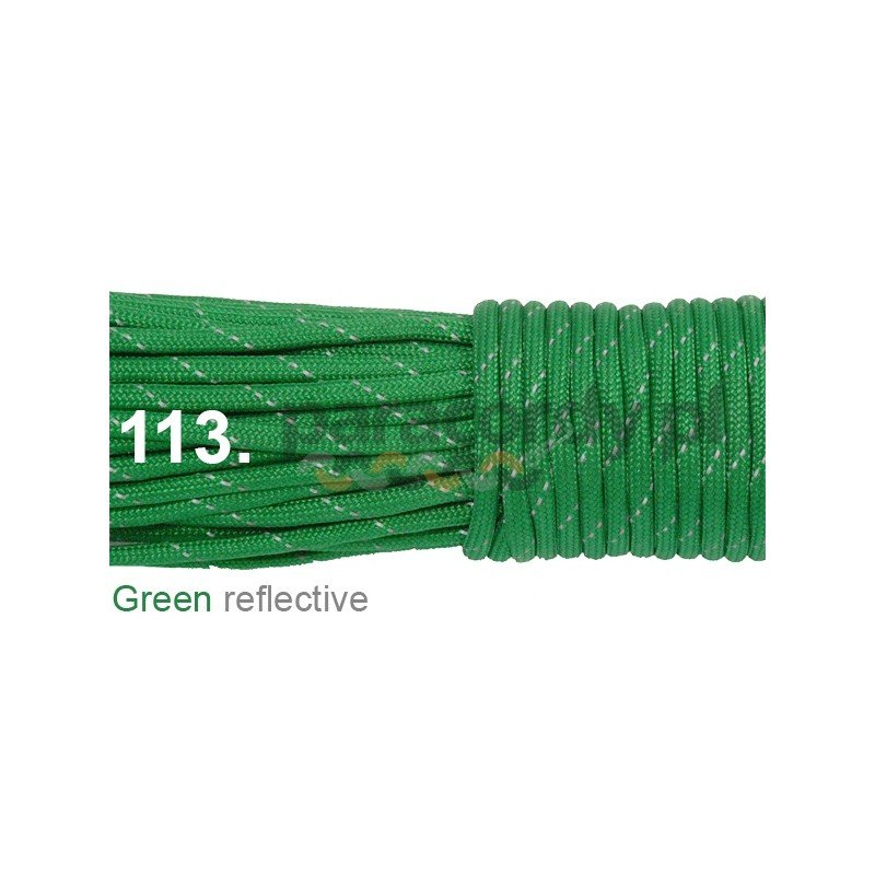 Paracord 550 linka kolor green reflective