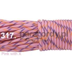 Paracord 550 linka kolor pink with x