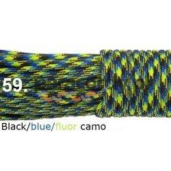 Paracord 550 linka kolor black blue fluor camo