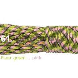 Paracord 550 linka kolor fluor green + pink