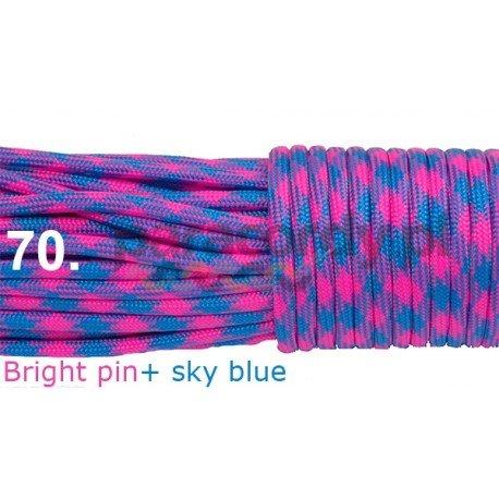 Paracord 550 linka kolor bright pink + sky blue