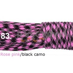 Paracord 550 linka rose pink black camo