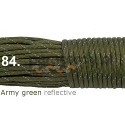 Paracord 550 linka army green reflective