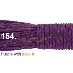 Paracord 550 linka kolor purple with glow X