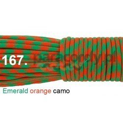 Paracord 550 linka kolor emerald orange camo