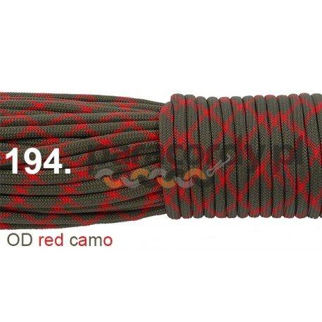 Paracord 550 linka kolor OD red camo